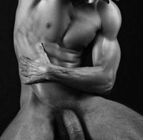 Black and white half naked photography
